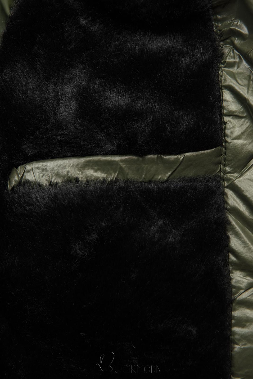 Khaki színű fényes téli kabát övvel