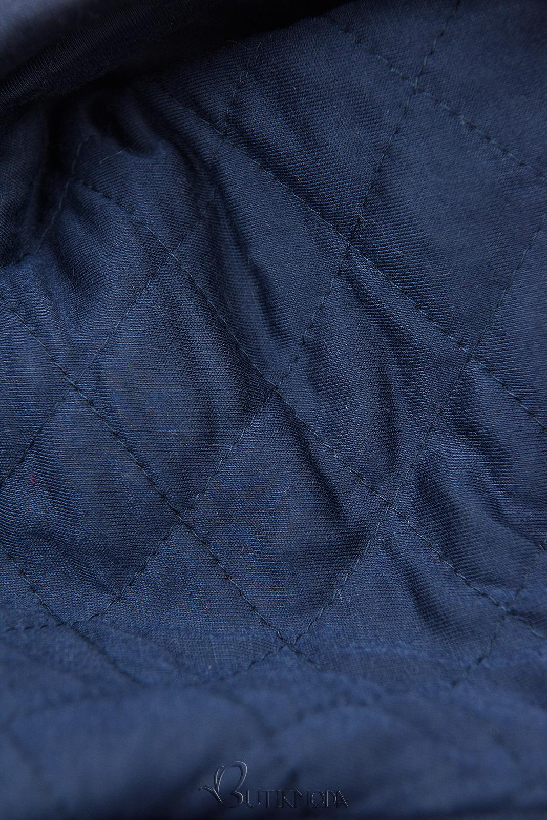 Sötétkék színű hosszított felső steppelt kapucnival