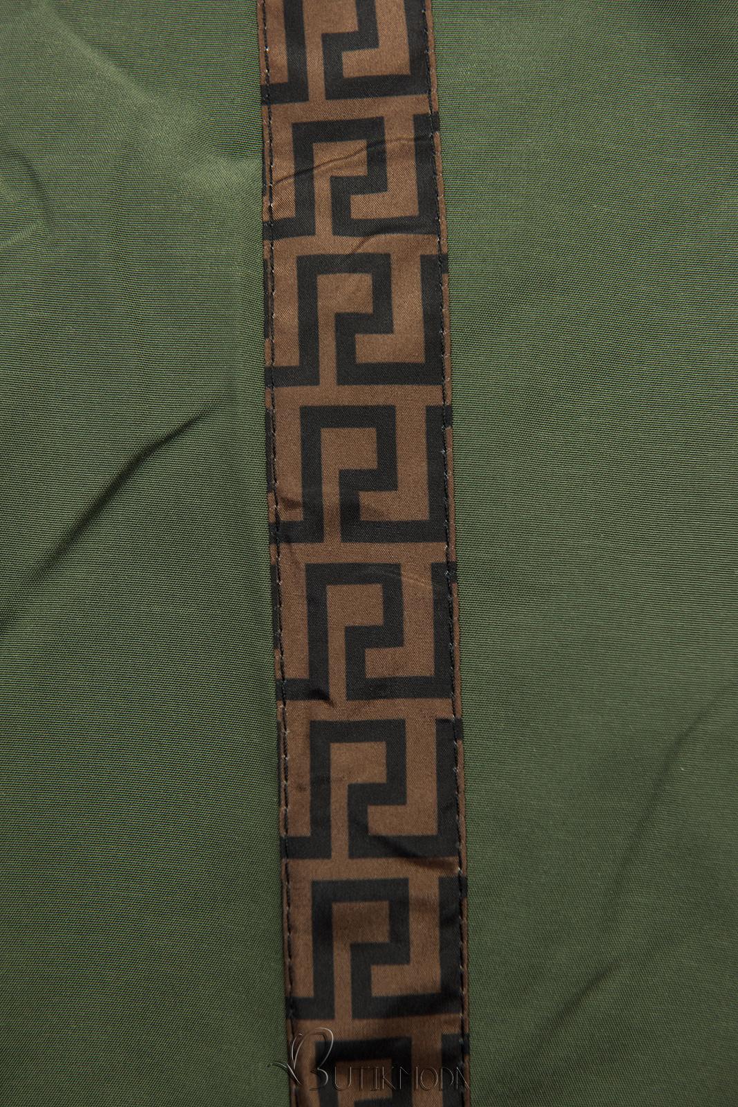Mintás kifordítható parka - khaki és barna színű