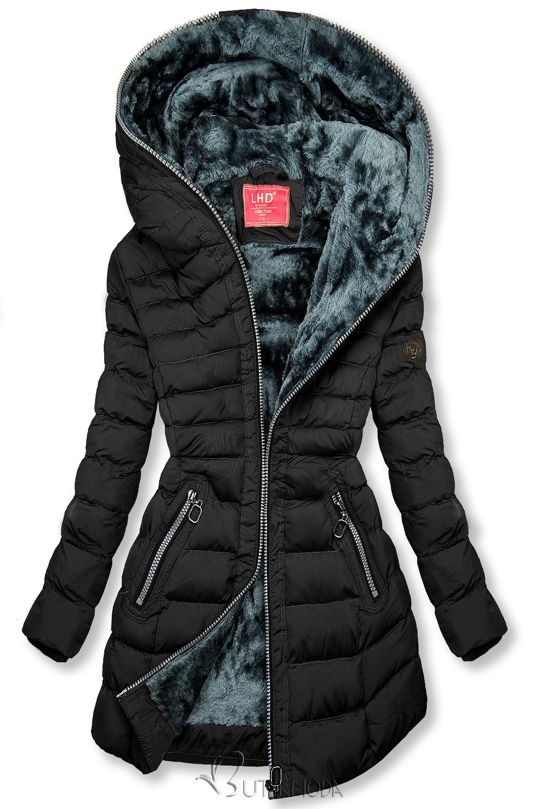 Téli steppelt kabát kapucnival - fekete színű