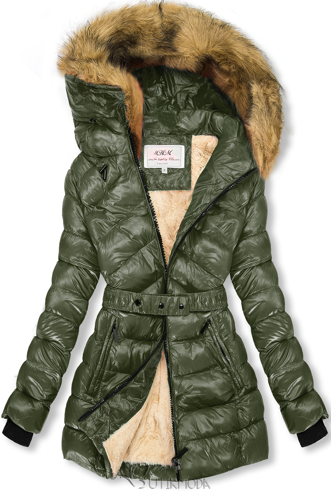 Khaki és bézs színű fényes kabát övvel