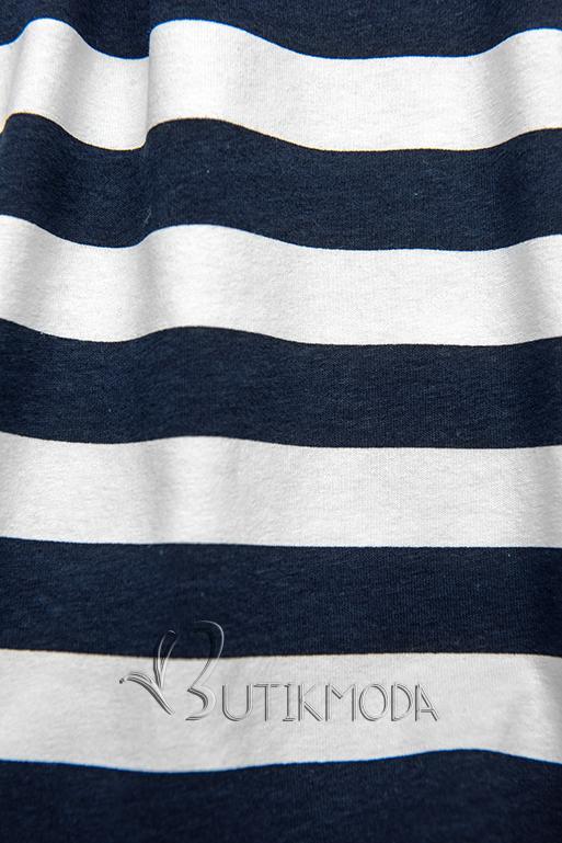 Kék és fehér színű, bő szabású csíkos ruha I.