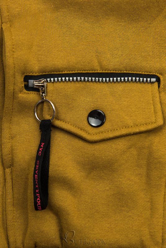 Mustársárga színű felső cipzárral
