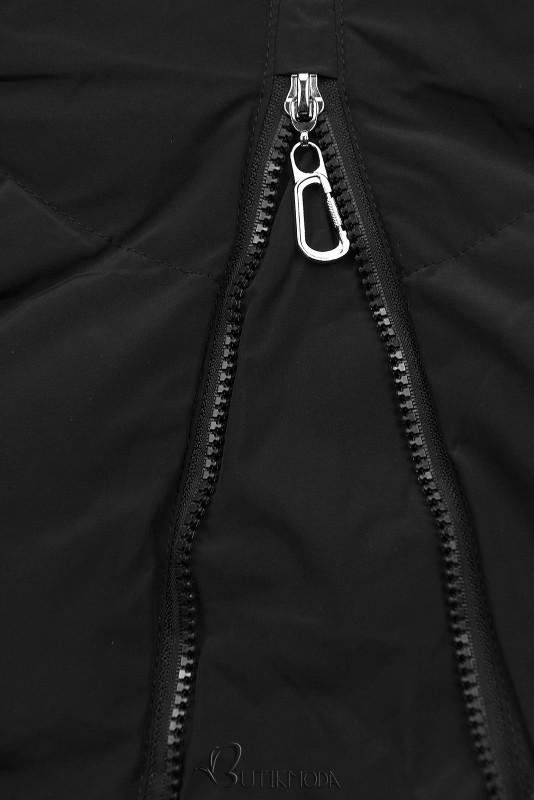 Fekete színű teli kabát hosszított fazonban
