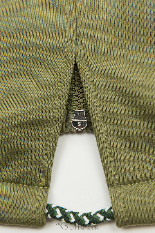 Khaki színű felső kétutas cipzárral