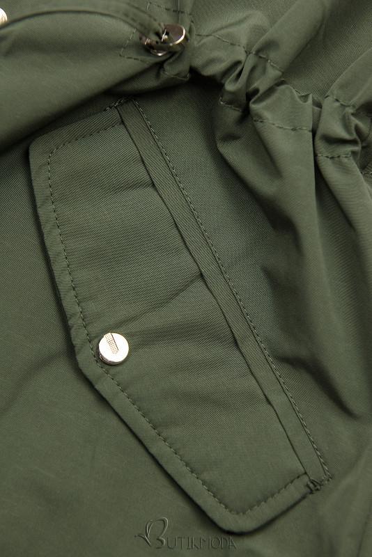 Khaki és barna színű kifordítható átmeneti parka