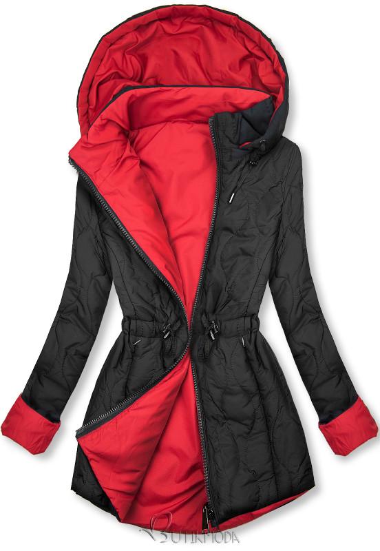 Steppelt őszi parka - fekete és piros színű