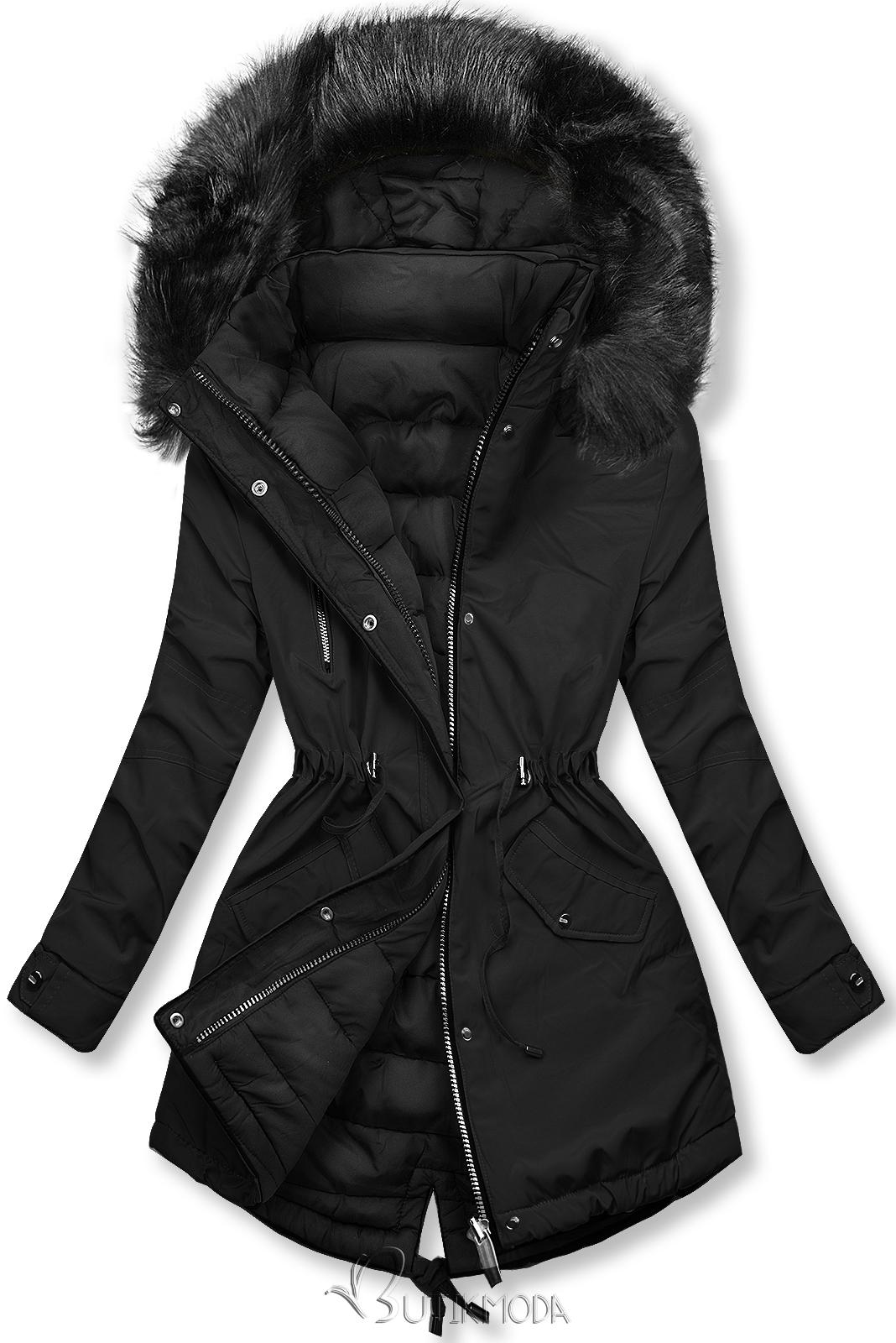 Téli kifordítható parka - fekete színű