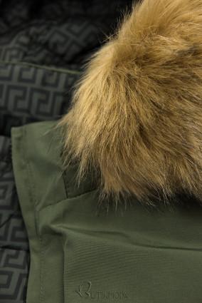 Khaki színű steppelt kifordítható kabát