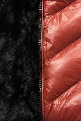 Téglabarna színű rövid téli kabát fekete színű műszőrmével