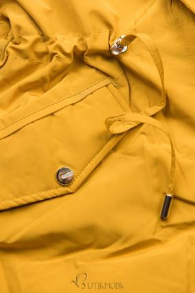 Mustársárga és bézs színű parka műszőrme szegéllyel