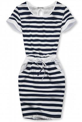 Kék és fehér színű csíkos ruha I.