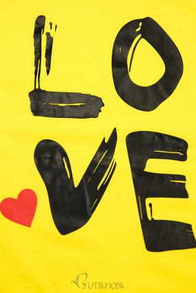 Sárga színű tunika LOVE nyomott mintával