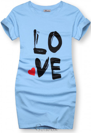 Kék színű tunika LOVE nyomott mintával