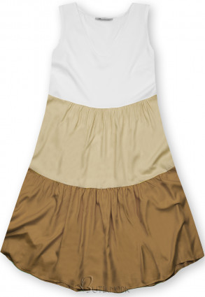 Fehér, bézs és barna színű nyári viszkóz ruha