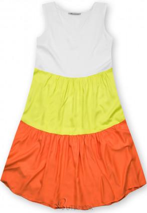 Fehér, borsózöld és narancsszínű nyári viszkóz ruha