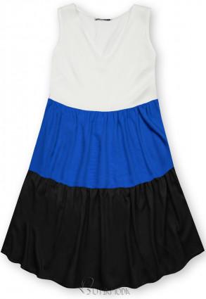 Fehér, kék és fekete színű nyári viszkóz ruha