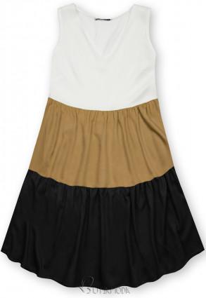 Fehér, barna és fekete színű nyári viszkóz ruha