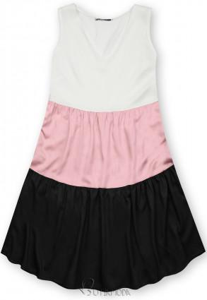 Fehér, fekete és rózsaszínű nyári viszkóz ruha