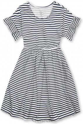 Kék és fehér színű, bő szabású csíkos ruha III.
