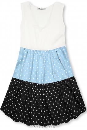 Fehér, kék és fekete színű pöttyös viszkóz ruha