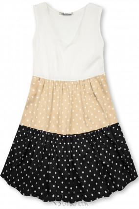 Fehér, bézs és fekete színű pöttyös viszkóz ruha