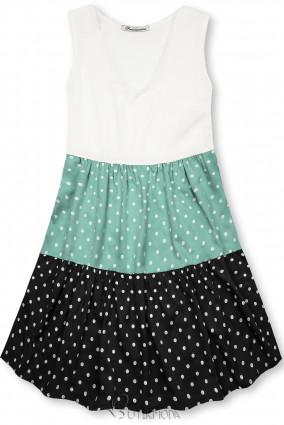 Fehér, mentazöld és fekete színű pöttyös viszkóz ruha