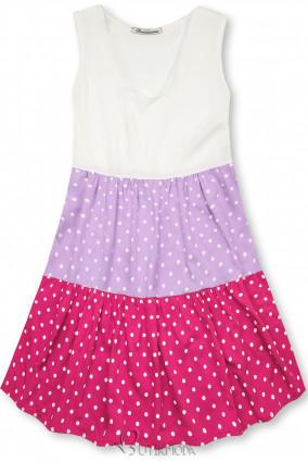 Fehér, lila és rózsaszínű pöttyös viszkóz ruha