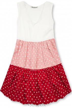 Fehér, piros és rózsaszínű pöttyös viszkóz ruha