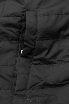 Khaki és fekete színű kifordítható átmeneti parka