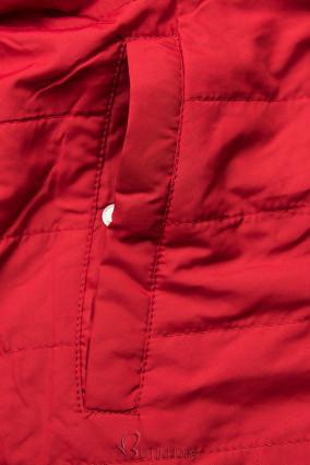 Fekete és piros színű kifordítható átmeneti parka