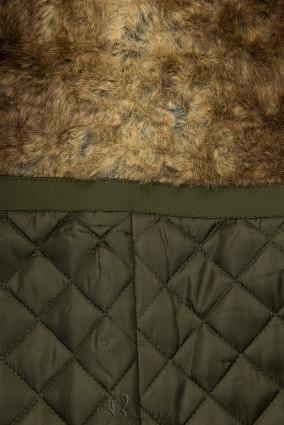 Olívazöld színű kabát magas gallérral és műszőrmével
