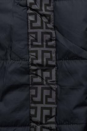 Sötétkék és szürke színű kifordítható kabát béléssel