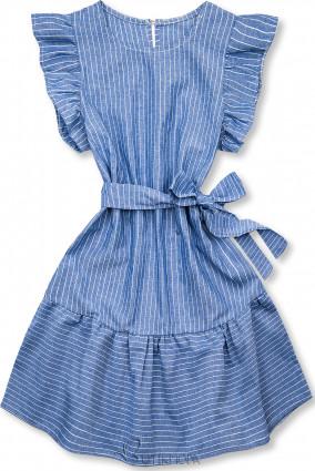 Kék és fehér színű csíkos ruha fodorral