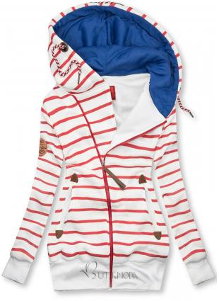 Fehér és piros színű csíkos felső kék színű kapucnival