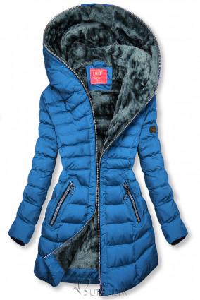 Téli steppelt kabát kapucnival - királykék színű