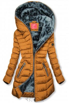 Téli steppelt kabát kapucnival - karamellszínű