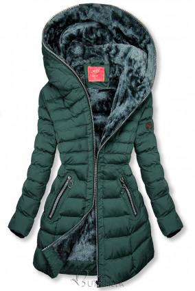 Téli steppelt kabát kapucnival - sötétzöld színű