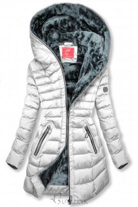 Téli steppelt kabát kapucnival - fehér színű