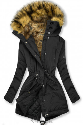 Fekete színű kabát magas gallérral és műszőrmével