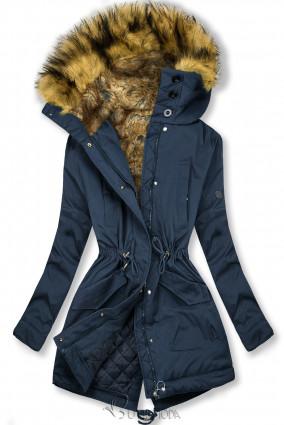 Sötétkék színű kabát magas gallérral és műszőrmével