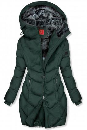 Sötétzöld színű teli kabát hosszított fazonban