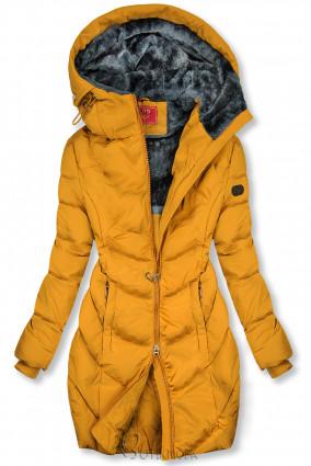 Sárga színű teli kabát hosszított fazonban