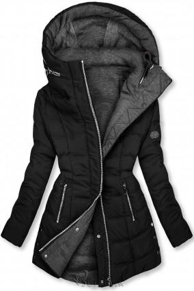 Fekete és szürke színű kifordítható kabát sportos stílusban