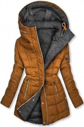 Barna és szürke színű kifordítható kabát sportos stílusban