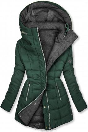Sötétzöld és szürke színű kifordítható kabát sportos stílusban