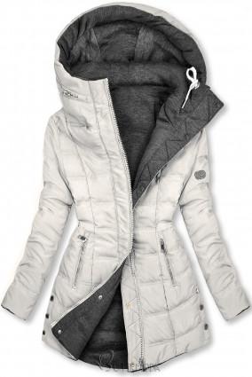 Ekrü és szürke színű kifordítható kabát sportos stílusban
