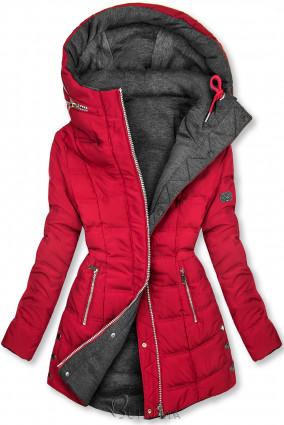 Borvörös és szürke színű kifordítható kabát sportos stílusban