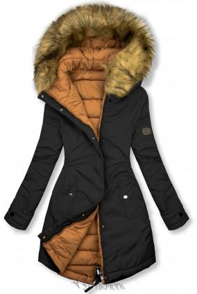Fekete és karamellszínű kifordítható téli kabát