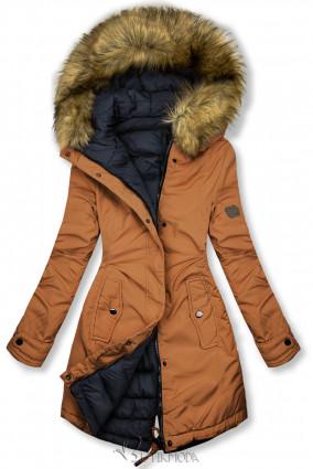 Barna és kék színű kifordítható téli kabát